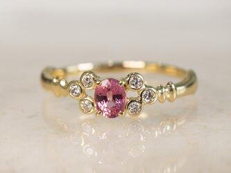 パパラチアサファイア×ブーケダイヤモンドリング(No.1134)の画像