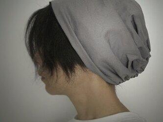 ターバンな帽子 グレー+黒 送料無料の画像