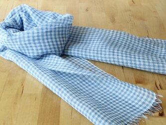 手織りリネンストール ギンガムチェック・水色の画像