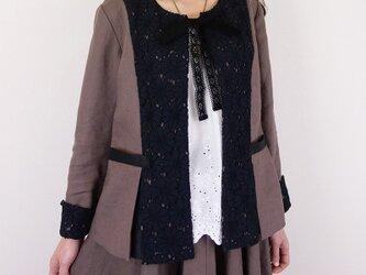 [予約販売]ヨーロッパモカリネンフラワーレース胸リボンジャケットの画像