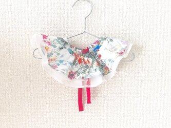 カラフルお花柄ローン×ボーダー柄オーガンジーの付け衿の画像