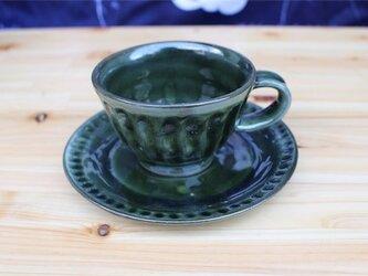 緑の器 カップとソーサ[18May-12]《釉薬》の画像