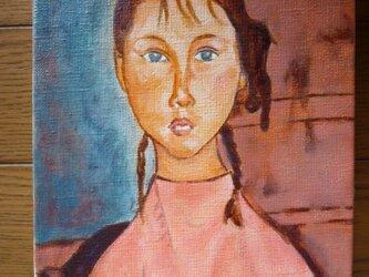 モディリアーニ「おさげ髪の少女」模写の画像