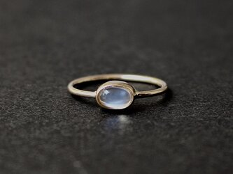 Royal blue moon stone 4×6mm / K10YGの画像