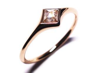 スクエアダイヤモンド0.21ct~ピンクK18リング【Pio by P】rustic diamondの画像