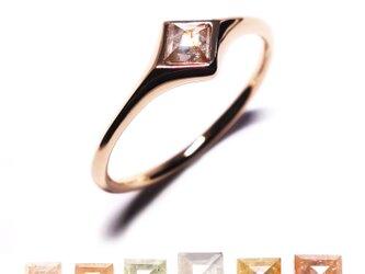 スクエアダイヤモンド0.15ct~ピンクK18リング【Pio by P】rustic diamondの画像