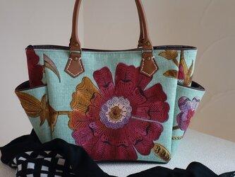 サイドポケットバッグS(輸入生地イギリスエジンバラ:ミントブルーHenna)の画像