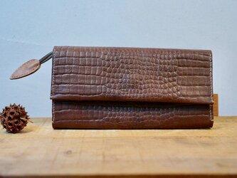 ★総手縫い★牛革のたっぷり収納長財布の画像