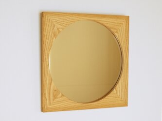 木製 鏡「しかくに◯」栗材4 ミラーの画像