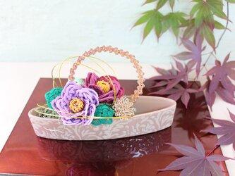 水引*椿と菊のアレンジ(藤色)の画像