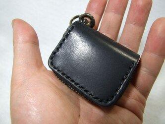 黒のミニファスナーコインケース 黒ステッチの画像