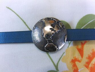 真鍮ブラス製 地球儀風の地図型帯留め 着物や浴衣の帯締め飾り・ブレスレット飾りにの画像