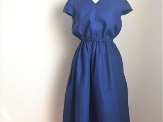 【ご予約商品】リネン キャットスリーブドレス ブルー の画像