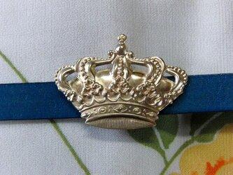 真鍮ブラス製 レトロクラウン(王冠)型帯留め 着物や浴衣の帯締め飾り・チョーカー飾りにの画像