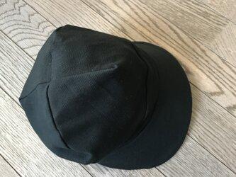 黒鹿の子ニット×着物生地帽子の画像