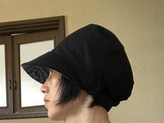 黒鹿の子ニット×水色エスニック柄帽子の画像