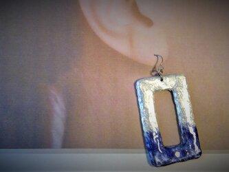 M様専用 長方形銀紺耳飾の画像