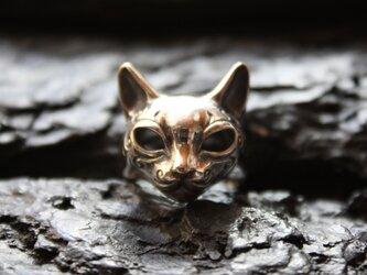 模様入り猫マスクリングの画像