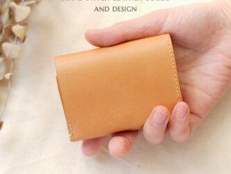 ☆受注制作☆刻印可能♪キップヌメのボックスコインケース型三つ折り財布 レシート仕切り付の画像