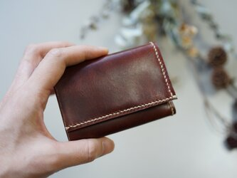 ★総手縫い★牛革の極小三つ折り財布♪ダークブラウン☆おまけ付き☆の画像