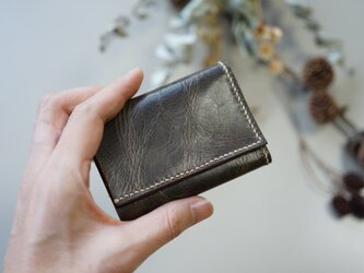★総手縫い★牛革の極小三つ折り財布♪カーキ☆おまけ付き☆の画像