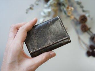★総手縫い★牛革の極小三つ折り財布♪ブラック☆おまけ付き☆の画像