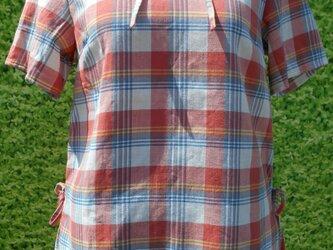 チェックオレンジ半袖両脇ブラウスの画像