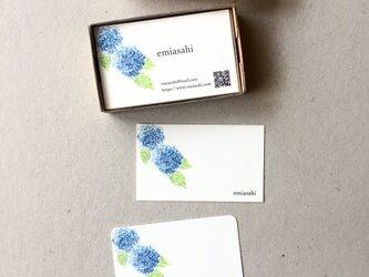 青い紫陽花の名刺 ショップカード メッセージカード アクセサリー台紙 50枚の画像