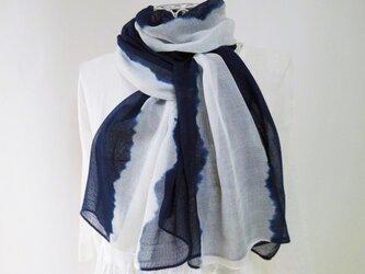 竹繊維100%・とても柔らか・藍染め・絞り染め_1縦縞の画像