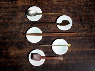 【豆(粒)皿】白緑 豆皿・箸置き・カトラリーレスト 五枚セット2の画像