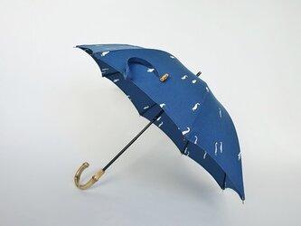 刺繍cottonバンブー持ち手日傘2段階調節<グース/ブルー>の画像