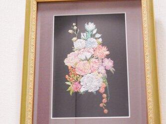 ❇お花刺繍入りインテリア額❇の画像
