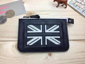 【イギリス/英国】モノクロ国旗の牛革おでかけ財布/ユニオンジャック/ファスナーポーチ/カード・コインケース[郵便送料無料]の画像
