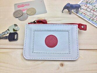 【日本/JAPAN】国旗の牛革おでかけ財布/ミニ財布/ファスナーポーチ/カードケース/コインケース[郵便送料無料]の画像