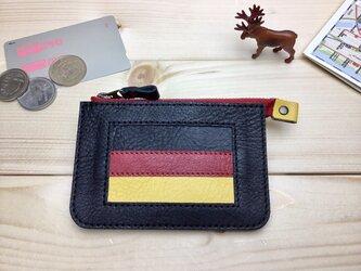 【ドイツ/GERMANY】国旗の牛革おでかけ財布/ミニ財布/ファスナーポーチ/カードケース/コインケース[郵便送料無料]の画像