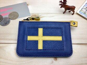 【スウェーデン】国旗の牛革おでかけ財布/ミニ財布/ファスナーポーチ/カードケース/コインケース[郵便送料無料]の画像