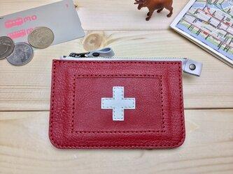 【スイス/SWISS】国旗の牛革おでかけ財布/ミニ財布/ファスナーポーチ/カードケース/コインケース[郵便送料無料]の画像