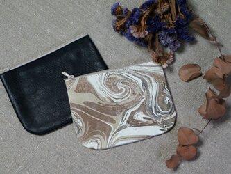 Leather Porch①#京都墨流し/ナチュラルブラック・カウレザーの画像