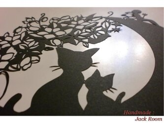 メルヘン切り絵I34 月猫Ⅱ 再販の画像