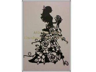 メルヘン切り絵I47 フラワードレス:バラの画像