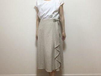 ハーフリネンタック付きラップスカート(ベージュ)の画像