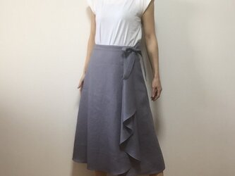 リネンタック付きラップスカート(ラベンダー)の画像