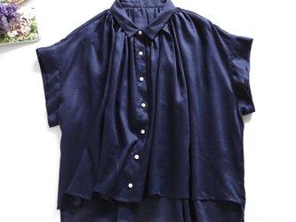 f8050806 麻100% 薄手 半袖 シャツブラウス シャツ の画像