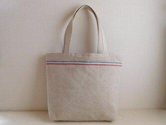 リネン トリコロールラインのバッグの画像
