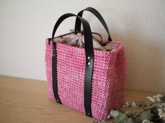巾着麻ひもかごバッグ-濃ピンクの画像