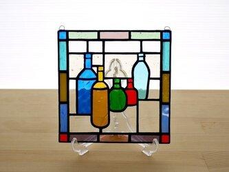 ステンドグラス ミニパネル ボトル 15cmの画像