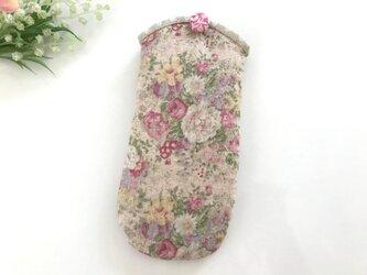 花柄メガネケース ピンクの画像