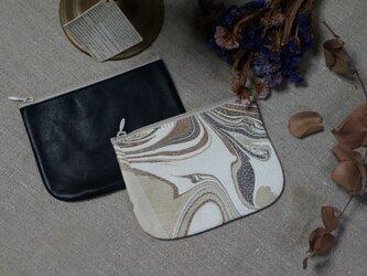 Leather Porch⑥#京都墨流し/ナチュラルブラック・カウレザー2個セットの画像