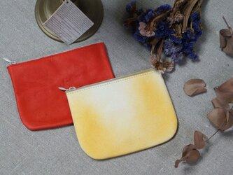Leather Porch#ふかふかred/吹き付け染色カウレザー2個セットの画像