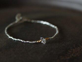 一粒ハーキマーダイヤモンド・シンプルシルバーブレスレットの画像